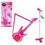 Комплект микрофон на стойка с китара /розов/