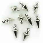 Висулка метална шип 13x6.5 мм дупка 2 мм цвят сребро -20 броя