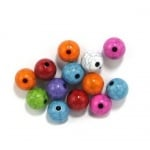 Мънисто имитация тюркоаз топче 10 мм дупка 1.5 мм микс -50 грама ~ 90 броя