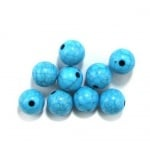 Мънисто имитация тюркоаз топче 10 мм дупка 1.5 мм синьо -50 грама ~ 90 броя