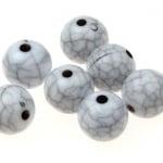 Мънисто имитация тюркоаз топче 10 мм дупка 1.5 мм бяло - 50 грама ~ 90 броя