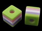 Куб 10x10x9.5 мм дупка 4 мм цветно 2 -50 броя