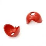 Мънисто плътно шапка 16х14x10 мм дупка 4.5 мм червено -20 грама ~44 броя