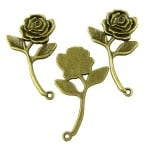 Висулка антик бронз метална роза 35х20x2 мм дупка 1.5 мм цвят -5 броя