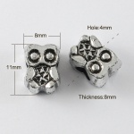 Мънисто метализе бухал 11x8x8 мм дупка 5 мм сребро -50 грама