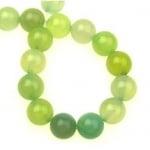 Наниз мъниста полускъпоценен камък АХАТ бледо зелен топче 10 мм ~39 броя