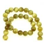 Наниз мъниста полускъпоценен камък ТИГРОВО ОКО жълт клас А топче 10 мм ~40 броя