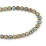 Наниз мъниста полускъпоценен камък РЕГАЛИТ син топче матирано 8 мм ~48 броя