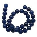 Наниз мъниста полускъпоценен камък АХАТ син тъмен топче 10 мм ~40 броя