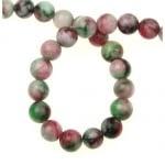 Наниз мъниста полускъпоценен камък АХАТ бяло зелено червен топче 8 мм ~50 броя