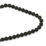Наниз мъниста полускъпоценен камък ОНИКС черен рисуван матиран топче 12 мм ~33 броя