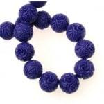 Наниз мъниста полускъпоценен камък КОРАЛ лилав гравиран синтетичен топче 12 мм ~30 броя