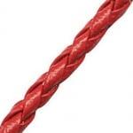 Шнур изкуствена кожа 3.2 мм объл плетен цвят червен -1 метър