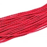 Шнур изкуствена кожа 3 мм объл плетен цвят червен -1 метър