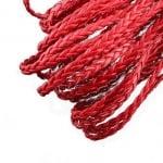 Шнур изкуствена кожа 5x2 мм плосък плитка цвят червен -1 метър