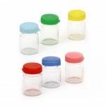 Бурканче стъкло 32x22 мм пластмасова капачка различни цветове