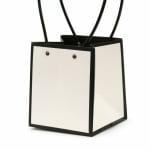 Опаковка за цветя хартиена чанта 15x13x12.5 см бяла с черно
