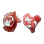 Роза 50 мм сатен и органза червено и бяло -10 броя