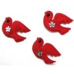 Птичка 50х35мм. червена кадифе -10бр.