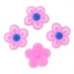 Фигурка гумена 17x3 мм цвете розово - 10 броя