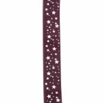 Ширит сатен 25 мм рипс лилав звездички -2 метра