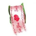 Ширит Сатен 40 мм розов с щампа -1 метър