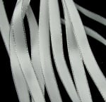 Лента Сатен 9 мм бяла с ламе сребро -5 метра