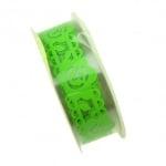 Лента полипропилен 15 мм самозалепваща зелена с цветя -1 метър