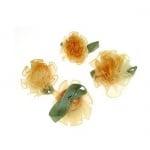 Роза 30 мм органза с листо оранжева -10 броя
