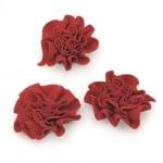 Цвете 53 мм текстил червено -5 броя