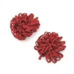 Цвете 43 мм рошаво текстил червено -5 броя