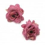Цвят роза текстил 55 мм с пънче за монтаж лилава -5 броя