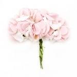 Роза букет хартия и гума 25x20 мм светло розова с бяло-12 броя