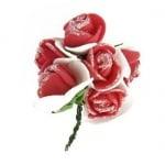 Роза букет гума и тел 20x80 мм брокат червенa с бялo -6 броя