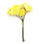 Роза букет текстил 22x100 мм жълта светла -6 броя