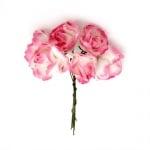 Роза букет хартия и тел 25x70 мм къдрава бяло и розово тъмно -6 броя