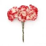Роза букет хартия и тел 25x70 мм къдрава бяло и червено -6 броя