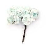 Роза букет хартия и тел 18x70 мм бяло и светло синьо -12 броя
