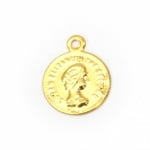 Паричка метал лице 12 мм злато с халка -50 броя