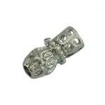 Мънисто метално с кристали 15x7 мм цвят сребро