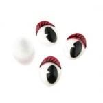 Очички рисувани 11x15 мм с мигли червени -20 броя
