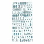 Самозалепващи стикери брокат букви цифри и знаци 10x2~10 мм цвят син -150 броя