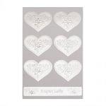 Самозалепващи стикери сърце с цветя и дума 42x34 мм цвят сребро -7 броя