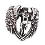 Пръстен стомана цвят антично сребро Ангел 17±23 мм.