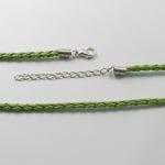 Гердан кожа 420x3 мм със закопчалка тип щъркел плитка зелен маслинен