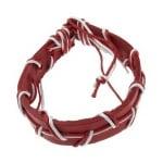 Гривна мартеница кожа и шнур памучен бяло и червено 12 броя
