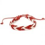 Гривна мартеница кожа естествена бяло и червено 12 броя