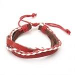 Гривна мартеница кожа изкуствена + естествена бяло и червено 12 броя