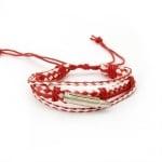 Гривна мартеница кожа изкуствена и шнур памучен бяло и червено 6 броя