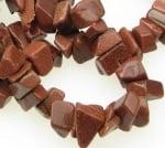 Наниз естествени камъни чипс 8-12 мм ~90 см СЛЪНЧЕВ КАМЪК КАФЯВ